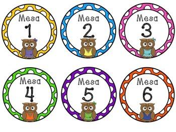 Números para las mesas (con búhos)