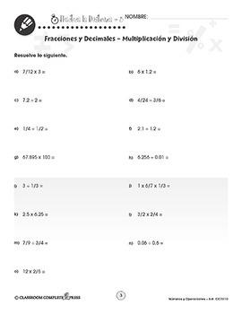 Números y Operaciones: Fracciones y Decimales – Multiplicación y División Gr.6-8