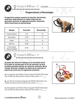Números y Operaciones: Proporciones y Porcentajes Gr. 6-8