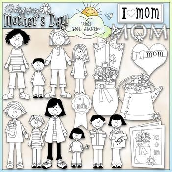No. 1 Mom Clip Art - Mother's Day Clip Art - CU Clip Art & B&W