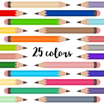 No. 2 Pencils Clipart - 25 Colors