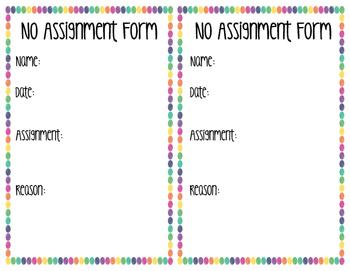 No Assignment Forms