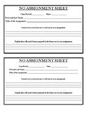 No Assignment Sheet