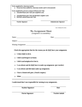 No Assignment Tracker