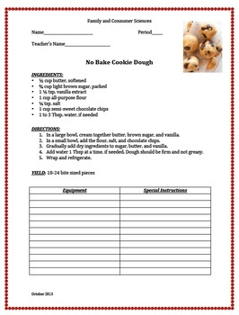 No Bake Cookie Dough PRACTICAL LAB (Lesson Bundle)