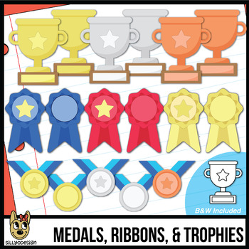 No Black Line-Trophies, Ribbons, & Medals | Awards Clip Art | Add your own text!
