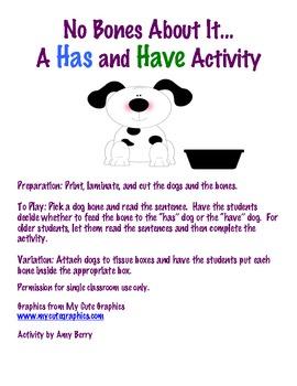 No Bones About It...A Has and Have Grammar Activity
