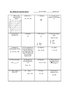 No Calculator Weekly Tests - Spiraled Review