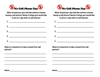 No Cell Phone Day Activity