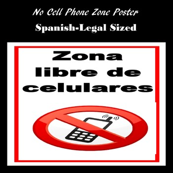 No Cell Phone Zone Poster in Spanish 8.5x14