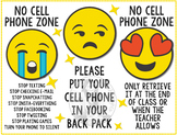 No Cell Phone Zone - Emoji Theme - Classroom Rule Poster