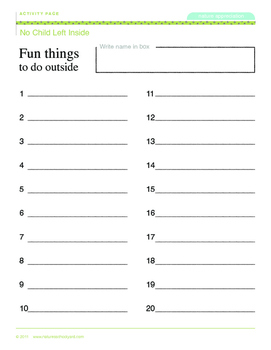 No Child Left Inside Lesson Package (activity page included)