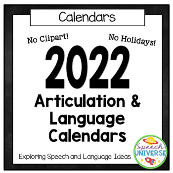 No Clipart Articulation and Language Homework Calendars