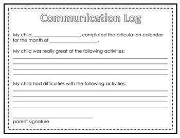 No Clipart Articulation and Language Homework Calendars