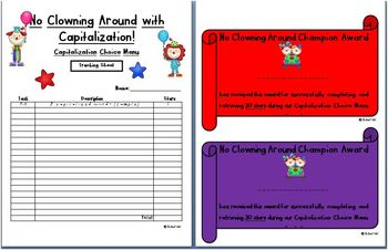 No Clowning Around w/ Capitalization: Choice Menu ELA Literacy Stations & More