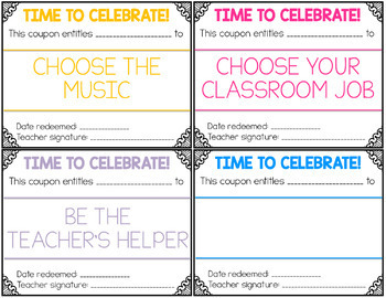 FREE No Cost Reward Coupons for the Classroom