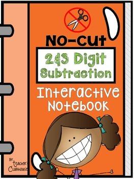 No-Cut Interactive Notebook {Math}: 2-Digit and 3-Digit Su