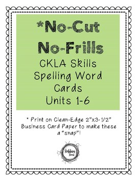 No-Cut No-Frills CKLA Spelling Cards- 2nd Grade
