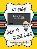 No, David!  Back to School Rules in English and Spanish
