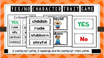 No David! Character Traits Game