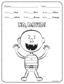 No David! Color by Number (Addition and Subtraction)