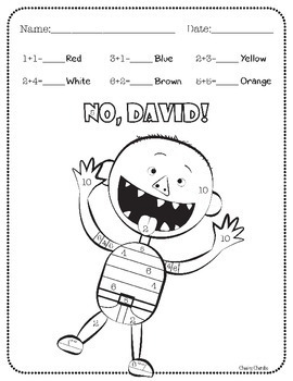 David goes to school printable activities sketch coloring page for No david coloring page