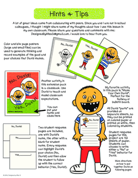 No, David! Extension Activity Pack: Class book, Posters, & Make Your Own David!