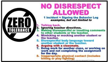 no disrespect poster by mrs edna a thompson teachers pay teachers