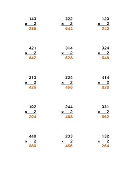 No Distractions Long Multiplication: Multi-digit by 2