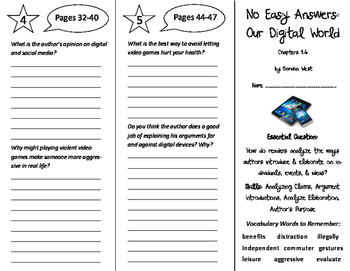 No Easy Answers: Our Digital World Trifolds - ReadyGen 6th Grade Unit 4 Module A