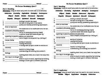 No Excuse Vocabulary Quiz 3