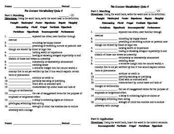 No Excuse Vocabulary Quiz 4