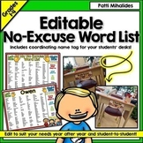 No Excuse Word List a desk top reference or mini word wall editable