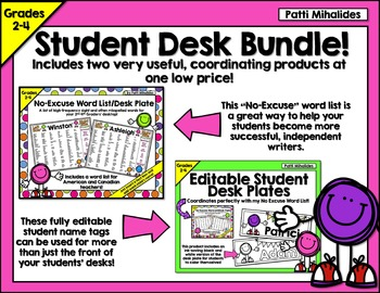 No Excuse Word List and Coordinating Name Tag Bundle -Gr.2-4