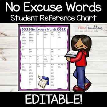 No Excuse Words Student Reference Chart- Editable