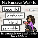 No Excuse Words- Wall Cards- Black and White