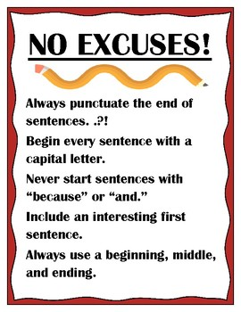 No Excuses Paragraph Writing