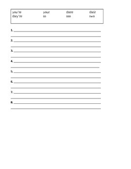 No Excuses Spelling Sheet and Quiz