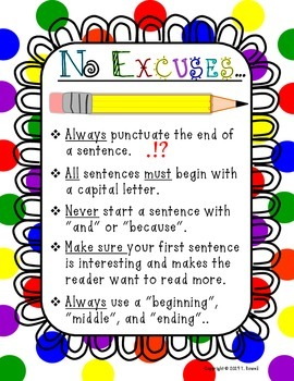 No Excuses- Writing Guidlines Poster