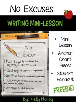 No Excuses Writing Mini-Lesson Freebie