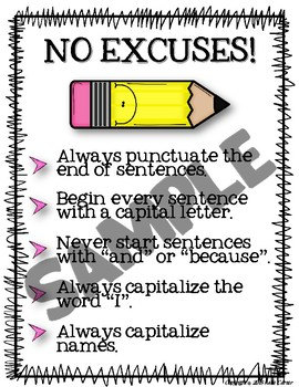 No Excuses Writing Poster