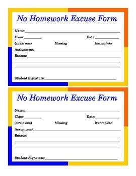 No Excuses for Homework