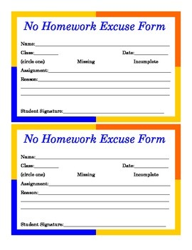 No Excuses for Homework