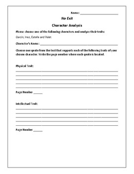 No Exit - Character Analysis Activity - Jean-Paul Sartre