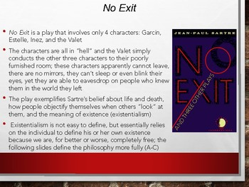 No Exit (Sartre)10-Day Unit(60+pages):Lecture PPT,Full Text+Qs,Vocab,Test,& More
