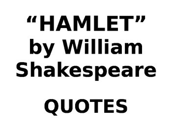 IR No Fear Hamlet by Shakespeare Quotes