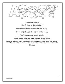 Little Interns Presents No Flashcards Sight Word Song Book