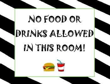 """""""No Food or Drink"""" Poster freebie"""