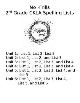 No-Frills CKLA Grade 2 Spelling Word Lists