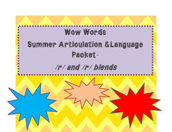 No Frills Summer Articulation and Vocabulary Packet- /r/ and /r/ blends